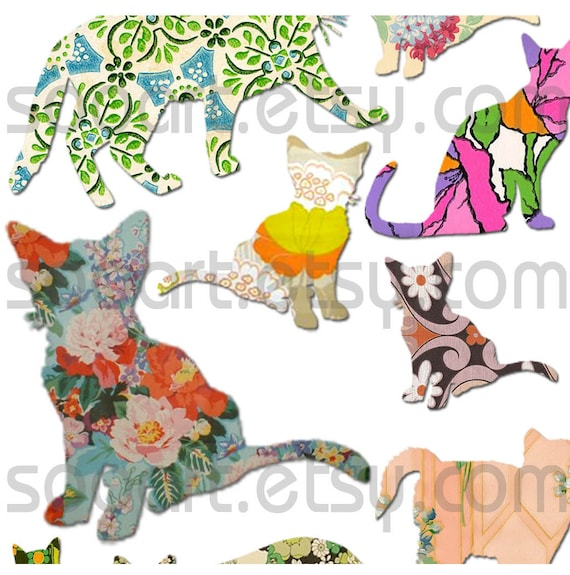 Digital Collage Sheet Cute Cats Die Cut On Vintage Wallpaper A4 Mixed Media Good For Scrapbook Art Aceo Atc Pendant Decoupage Etc