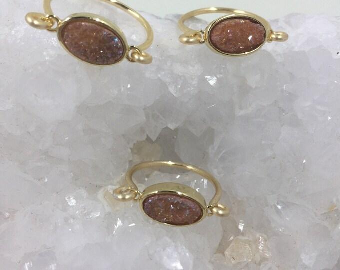 Druzy ring dainty gold oval druzy ring stackable minimalist jewelry