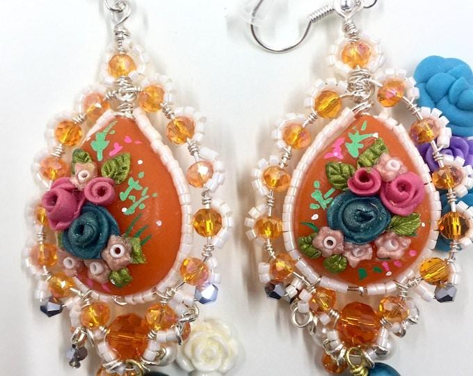 chandelier earrings embroidery style polymer clay earrings beaded earrings boho chic earrings