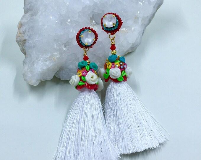 Bohemian jewelry Embroidery style boho tassel red white flowers statement earrings.
