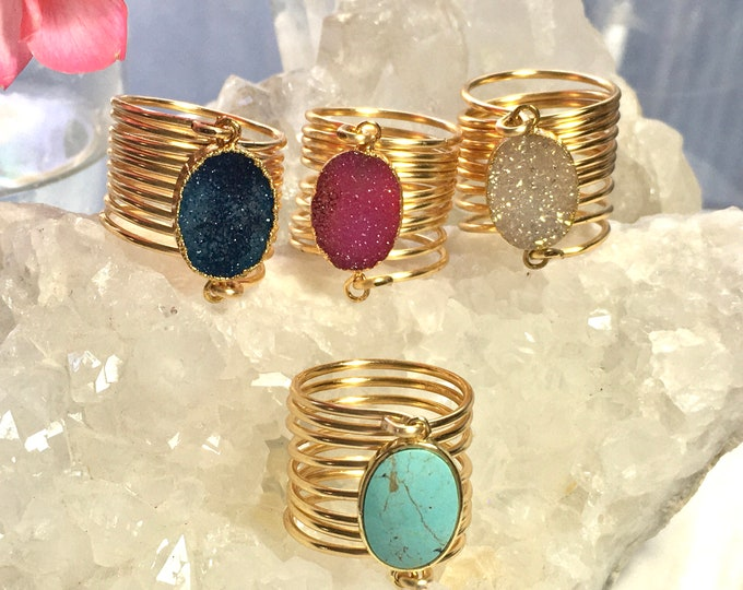 Featured listing image: Druzy rings wire wrapped rings Oval druzy rings gold electroplated beautiful colors.
