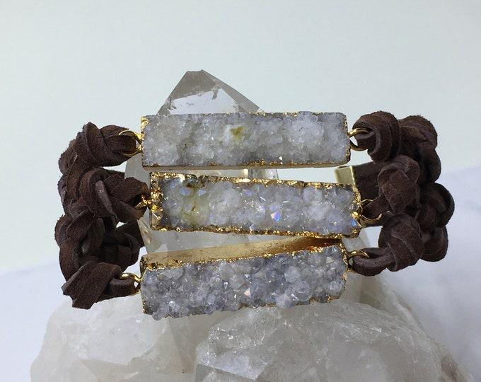 Featured listing image: Druzy bracelet natural druzy leather bracelet boho chic bracelet