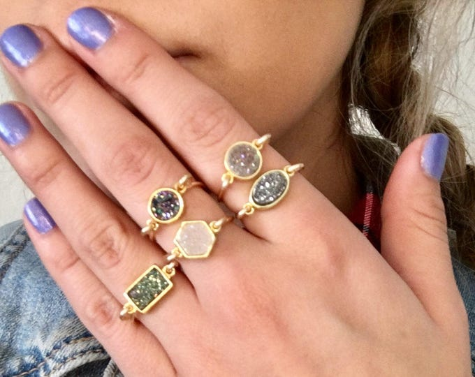 Featured listing image: Dainty stackable wire wrapped gold druzy rings gold