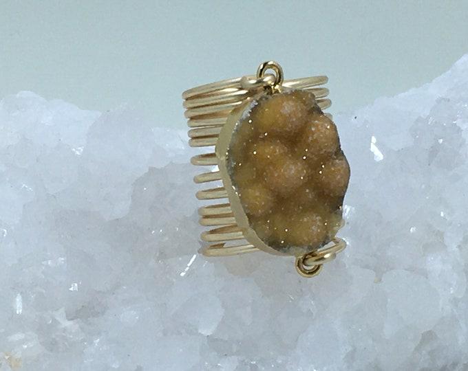Druzy ring statement jewelry natural yellow druzy handcrafted jewelry