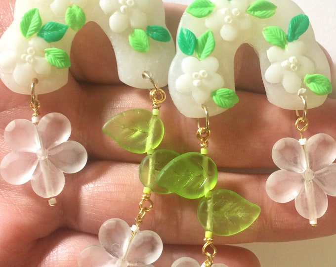 Power Daisy polymer clay and glass earrings