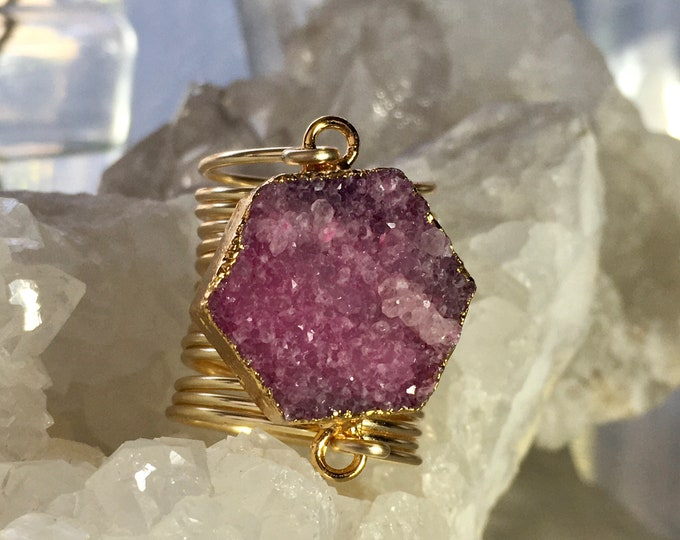 Druzy jewelry ring handcrafted hexagon statement sparkly pink stone