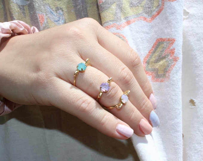 Dainty rings stackable candy collection gold rhinestone rings