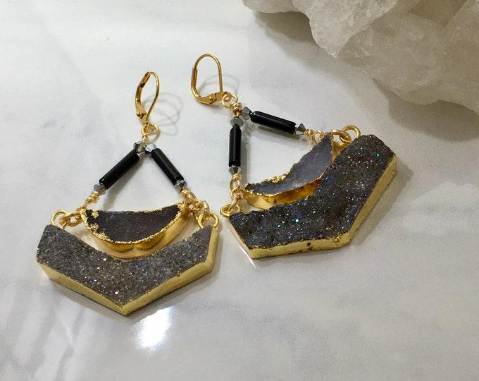 Statement jewelry statement earrings Druzy earrings dangle earrings