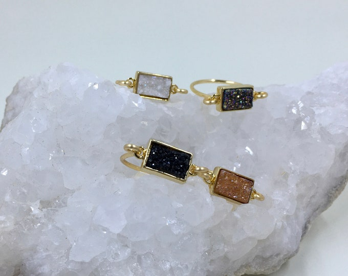 Dainty druzy ring stackable rectangle druzy gold rings minimalist jewelry