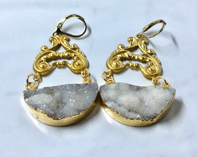 Druzy earrings half moon druzy earrings statement jewelry
