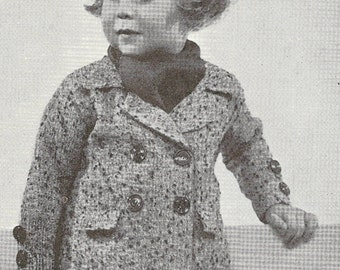 Child's Coat Vintage Knitted Pattern 0092