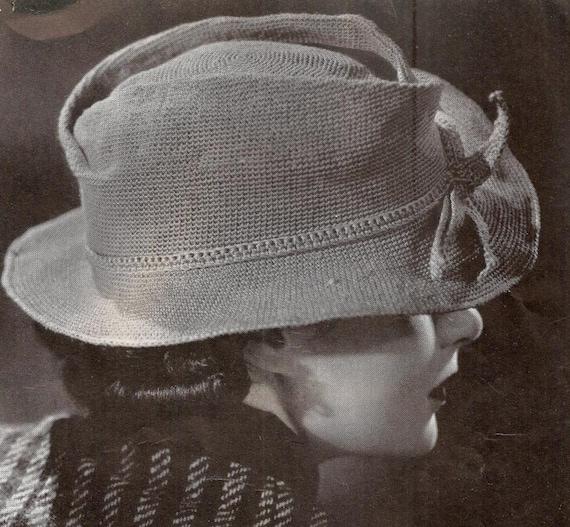 1936 Fedora Hat Vintage Crochet Pattern 251 Etsy