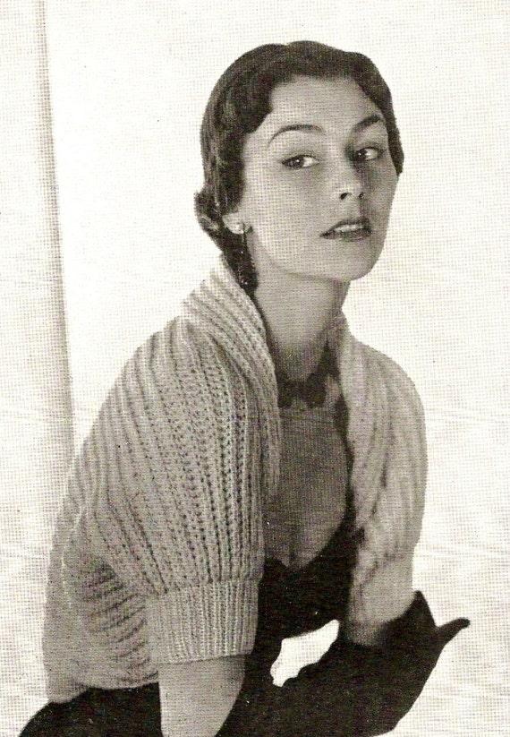 1950 Vogue Shrug Vintage Knitting Pattern 347 Etsy