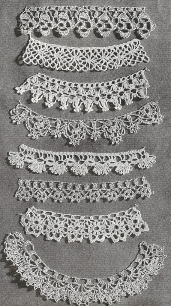 1940 Lace Edgings Vintage Crochet Pattern Etsy