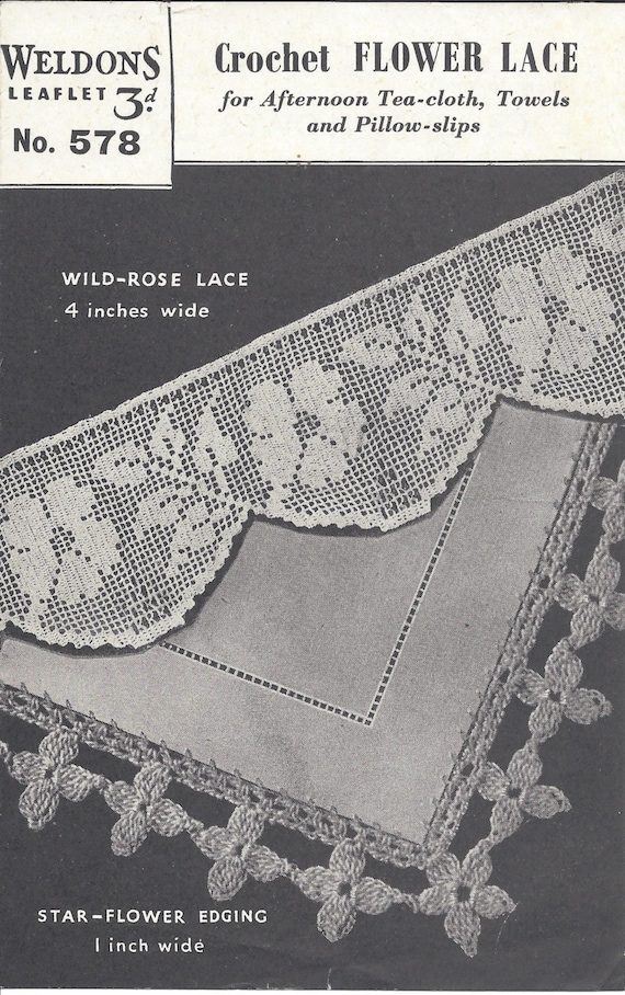 Crochet Flower Lace Vintage Crochet Pattern 538 Etsy