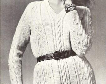 Aran Sweater Dress Vintage Knitting Pattern 429