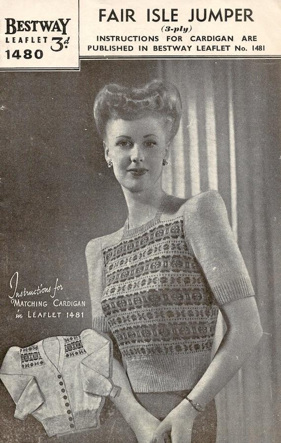 1940s Fair Isle Twin Set Vintage Knitting Pattern 324 Etsy