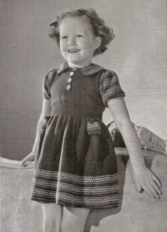 So Pretty Little Girl Dress Vintage Knitting Pattern 003 Etsy