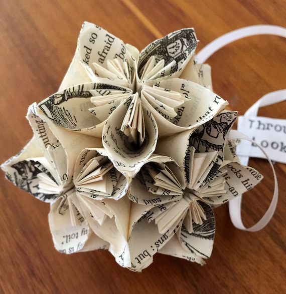 Through the looking glass book small paper flower pomander etsy image 0 mightylinksfo
