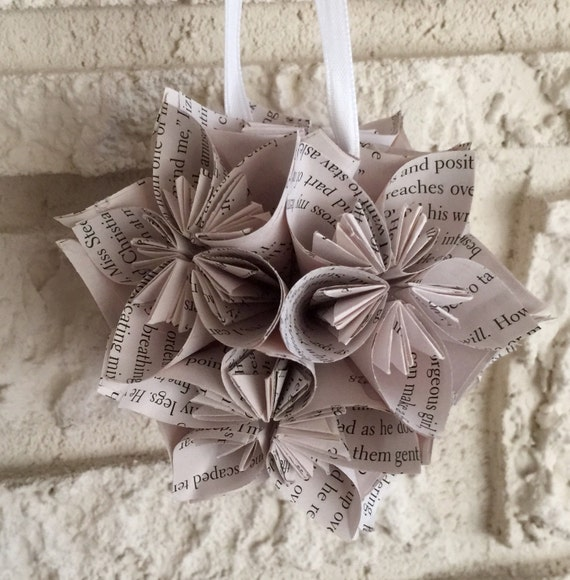 Fifty Shades Of Grey Book Small Paper Flower Pomander Ornament Etsy