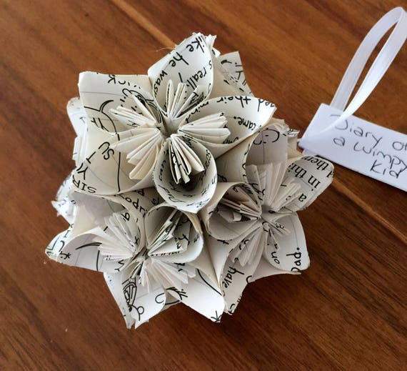 Diary of a wimpy kid book small paper flower pomander ornament etsy image 0 mightylinksfo