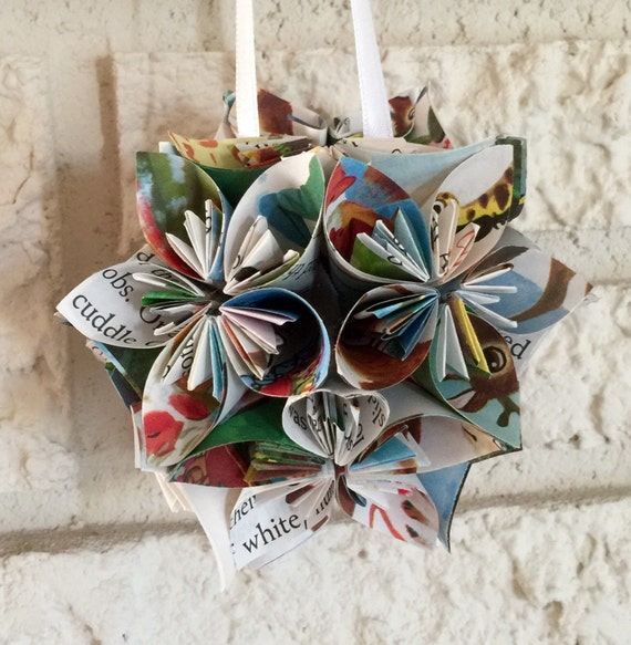 The Night Before Christmas Small Book Paper Flower Pomander Etsy