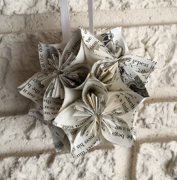 Alice In Wonderland Book Small Paper Flower Pomander Ornament Etsy