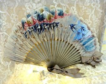 Antique Feather Folding Hand Fan, Hand Painted Victorian Fan