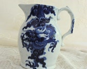 Vintage Mason 39 s Patented Ironstone Pitcher, Cobalt Blue And White Dragon Pitcher