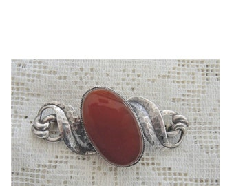 Vtg 800 Silver Real Carnelian Gemstone Arabic Pin Brooch Jewelry & Watches