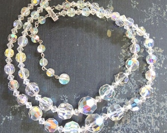 Vintage Aurora Borialis Choker Necklace, A B Crystal Necklace