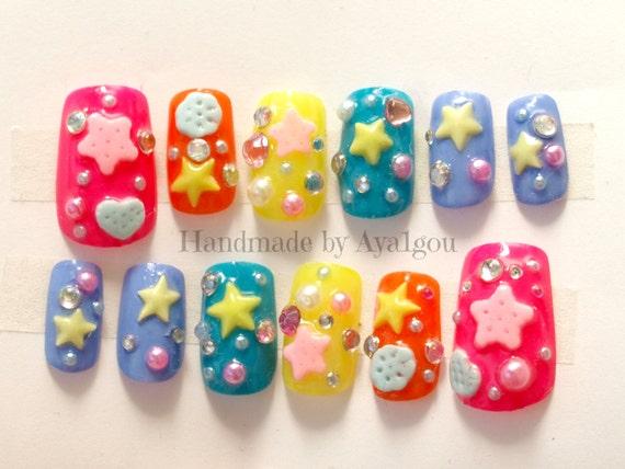 Christmas nails, Japanese 3D nails, rainbow, summer nail, star, Harajuku,  pop kei, decora, Japanese fashion, vivid, kawaii nails, deco nail,