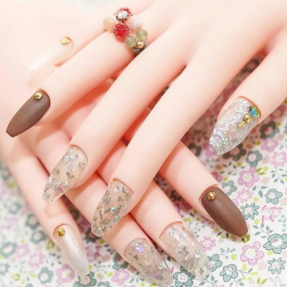 Nails, ballerina nails, coffin nails, matt nails, 24k gold, pretty ...
