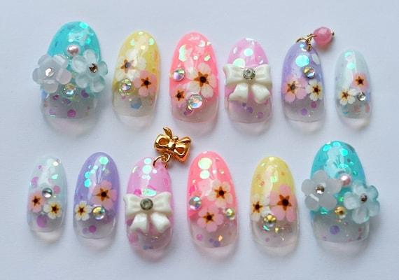 image 0 - Kawaii Nails, 3D Nails, Japanese Nail, Nail Art, Spring Nail, Summer Nail,  Deco Nail, Oval Nail, Pastel Nails, Floral Nails, Nail Dangling
