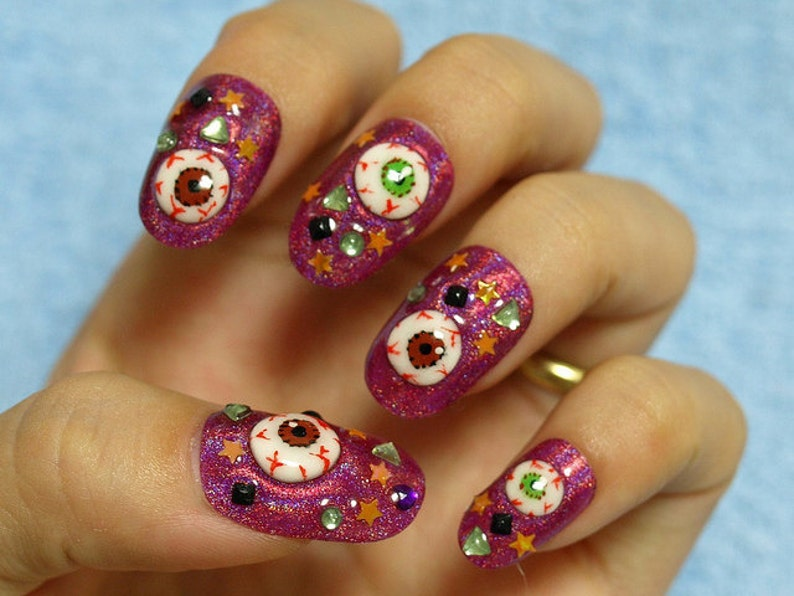 Eyeball Creepy Kawaii Deco Nail Goth Nail Zombie Nail Etsy