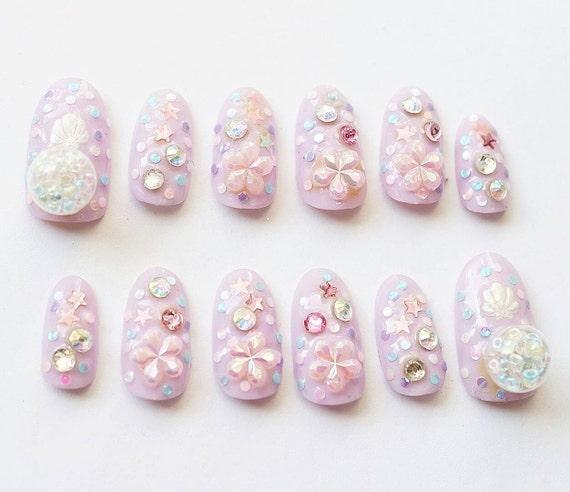 4d Nails Japanese Nail Art Lilac Sakura Fake Nails Beads Etsy