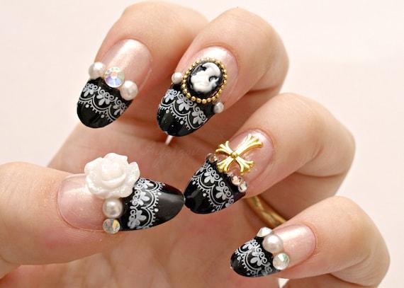 3d Nails Gothic Lolita Lolita Nails Egl Japanese Nail Art Etsy