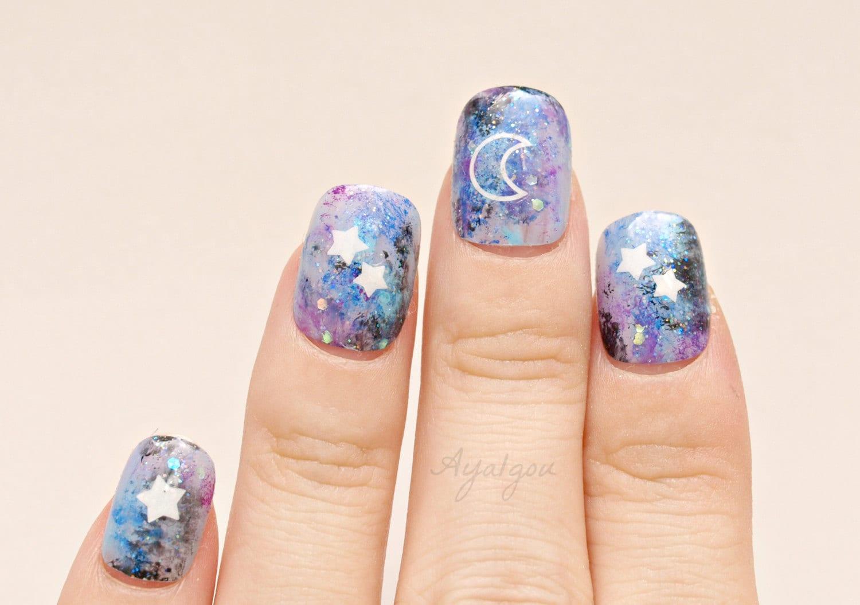 Pastel goth, fake nails, Kawaii nails, galaxy, celestial, moon light ...