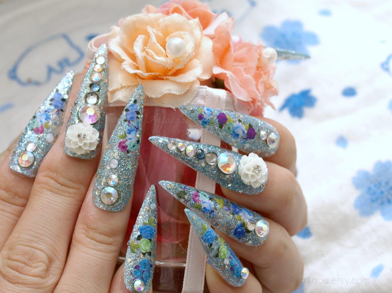 Stiletto nails, super long nails, bling, Japanese 3D nail, aqua blue ...
