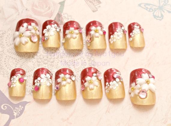 Christmas nails, Japanese 3D nails, kawaii nail, lolita accessory, red,  gold, pretty nail, festive nails, waloli, sakura, cherry blossom,
