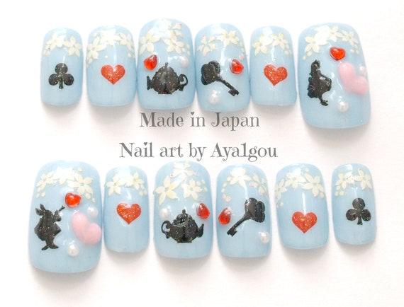 Nail Alice In Wonderland Sweet Lolita Aqua Blue Pastel Etsy