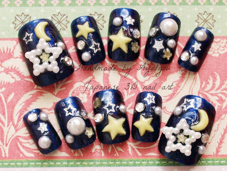 Galaxy, milky way, star nails, 3D nails, star, moon, navy, blue nail,  kawaii nail, pearl, lolita accessory, lolita fashion, Harajuku, decora