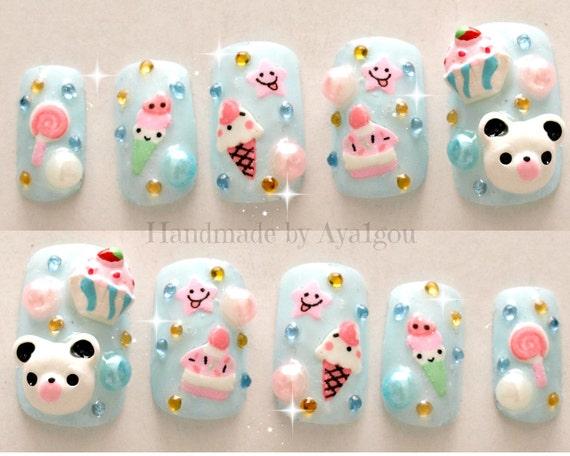 Kawaii Nails Kuma 3d Nails Japanese Nail Art Summer Etsy