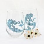 Mermaid wine glasses / Mermaid gift / Nautical Coastal Beach decor / Set of 2 hand painted stemless glasses / Sea Glass Collection
