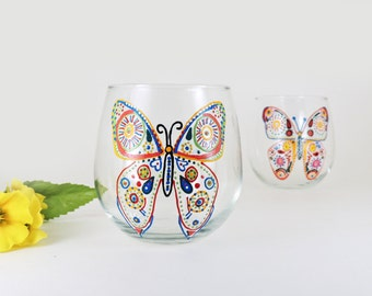 Butterfly hand painted stemless red wine glasses - Set of 2