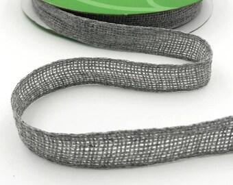 3/4 Inch Soft Open Weave Ribbon, Grey Burlap Ribbon . 3 yards