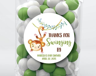 Monkey Bag Tags Monkey Baby Shower Bag Toppers Monkey Bag Topper Thanks For Swinging By Printable Watercolor Monkey Treat Bag Topper