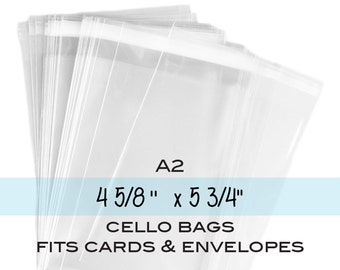 """100 Clear Resealable A2 Card Envelopes, Clear Polypropylene Bags, Clear A2 Cello Bags. 4-5/8"""" x 5-3/4"""""""