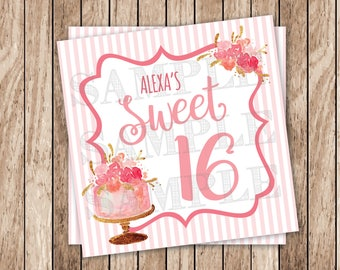Printable Sweet Sixteen Tags, Personalized Printable Sweet 16 Tags, Printable Gold & Pink Favor Tags, Sweet 16 Floral Birthday Cake Tags