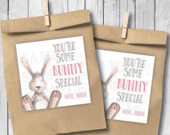 Personalized Printable Easter Bunny Tags, Printable You're Some Bunny Special Tags, DIY Easter Tags, Watercolor Bunny